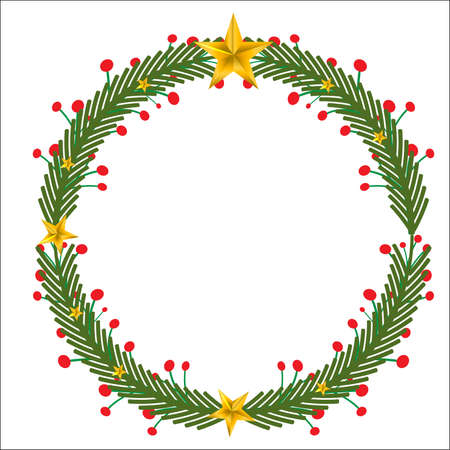 New Year and Christmas wreath design on white background. Natural holiday wreath with cherry,leaves and star.Can be decorated with Christmas tree. Hang on the door. For the beautiful day.