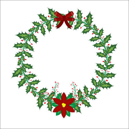 Christmas wreath made of pine nuts, naturally decorated with red ribbow and cherry around wreath and hangs on the Decorate beautiful look. Stock Illustratie