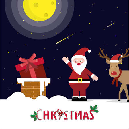 Santa claus stand on roof with reindeer  at night. he put gift the Chimney for give a gift to everyone. On Christmas Eve.