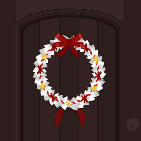 Christmas White wreath made of pine nuts, naturally decorated with gold star,ribbow and red rope on hangs the door. Decorate beautiful look. welcome Christmas Day.