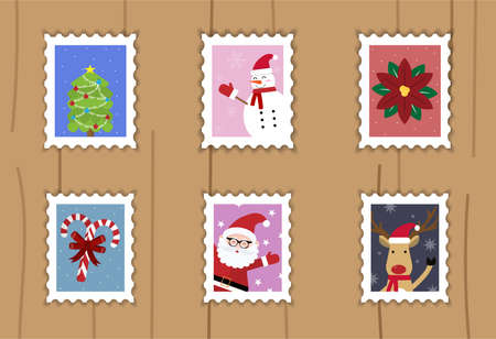 Christmas stamps vector pattern on background. Christmas beautiful cheerful cute stamp with holiday symbols and elements of decoration.Set for the decoration of Christmas cards and gifts. stamp have design tree, snowman, santa claus, candy, reindeer.