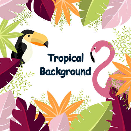 Tropical Background illustration vector shore with object on the nature background. background have leafs,Flamingo,Hornbill so cute and Frame nature.