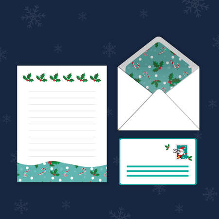 Christmas Templates, Letters, Envelopes, Postcard Styles with Cherry, Candy The background is mint. Lovely pattern Can be used to write letters on various occasions. Stock Illustratie