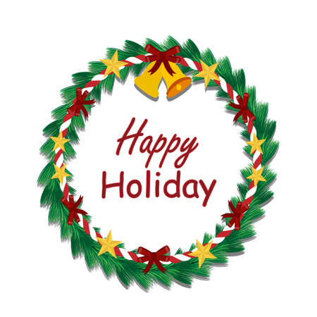 Happy Holiday and Christmas wreath made of pine nuts, naturally decorated with red ribbow,  gold star and red rope around wreath and hangs on the Decorate beautiful look. over  bell on wreath Christmas.