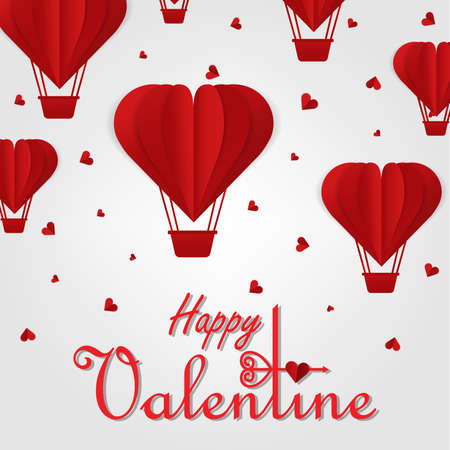 Happy valentines day vector greetings card design with paper cut red heart shape air balloons flying and hearts in white background. Vector illustration.