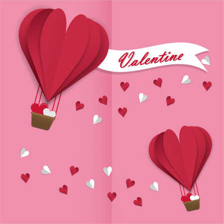 Happy valentines day vector greetings card design with paper cut red heart shape air balloons flying and hearts in pink background. Vector illustration.