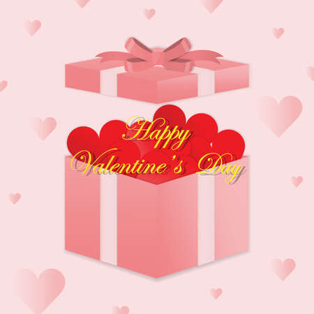 Happy valentines day.Valentines day gift box. Red hearts coming out from gift box. Gift box open. Love is in the Love box. Valentines Day.