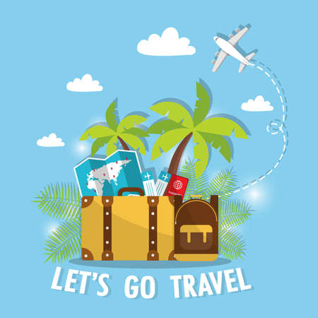 Travel There are bags, backpacks, plane tickets, world maps and passports. For tourism and recreation Vector illustration.
