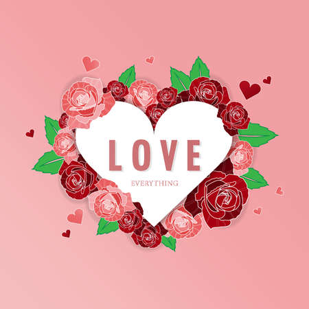 Valentines Day background with red rose and pink rose around heart frame with LOVE text in Happy Valentines Day.can be used as a greeting card on the day of love.