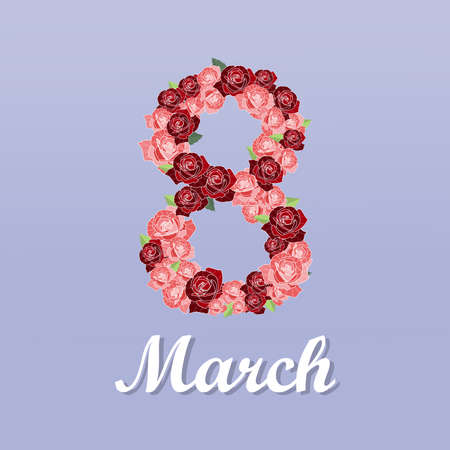 Banner for the International Womens Day. March 8 with the decor of flowers. Invitations with the number 8 in the style of  a pattern of spring rose,plants, leaves and flowers. Stock Illustratie