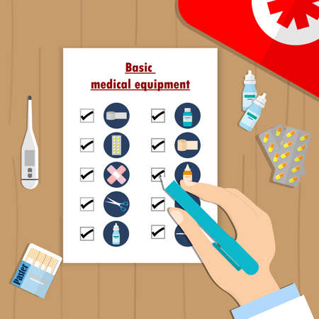 Is a check list of basic medical equipment That we can carry Can use first aid first It is a necessary device that we have to bring.