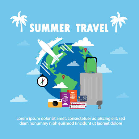 It's Summer Time to Travel.Trip to World. Travel to World. Vacation. Road trip. Tourism. Travel banner. Journey. Travelling illustration. Modern flat design.