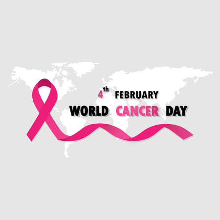 Pink ribbon as world cancer day symbol with text sample. Vector illustration of anti-cancer campaign.Can be use background.