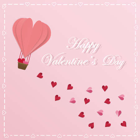 Happy Valentines Day Vector greeting card designed with paper cut heart shape, pink balloon and heart scatter With a pink background,frame heart.Can be used as a Valentines Day card.