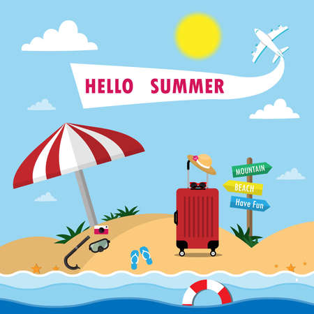 Summer Background with Travel Vacation Elements.Trip Design. Holiday Go on vacation, sea, beach, diving, luggage, camera and plane. Stock Illustratie