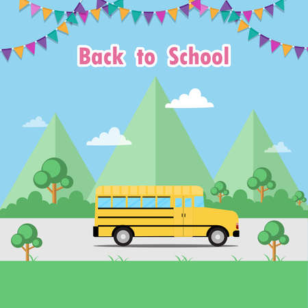 School bus with festive flags to school. Back to school poster or Yellow school bus on road. Creative vector illustration.