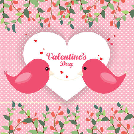 Valentines day illustration with pair birds and text. Romantic card with couple in love. Two Birds Kiss Heart Shape and dot pink Background.