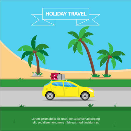Concepts of Holiday tourism, planning Travel by car on holiday Make it happy to enjoy this journey to the sea. Travelling illustration. Stock Illustratie