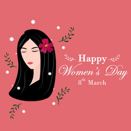 March 8 greeting card Happy International Womens Day. Greeting Card is  cute girl black hair feeling so happy on pink background.