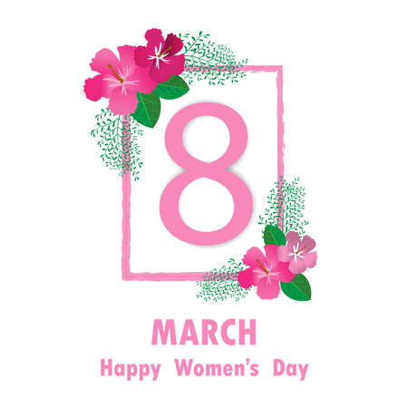 March 8 colorful flower greeting card Happy International Womens Day. Square Frame flower in Womens Day. Stock Illustratie