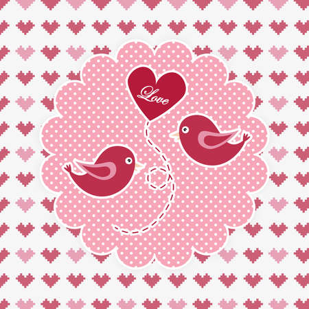 Valentines day illustration with pair birds and shape heart balloon float the center on white dot pink background. Romantic card with couple in love.