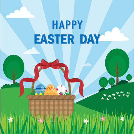 Easter eggs in red ribbon basket on flower and grass with blue sunny sky background.Happy Easter eggs holiday.