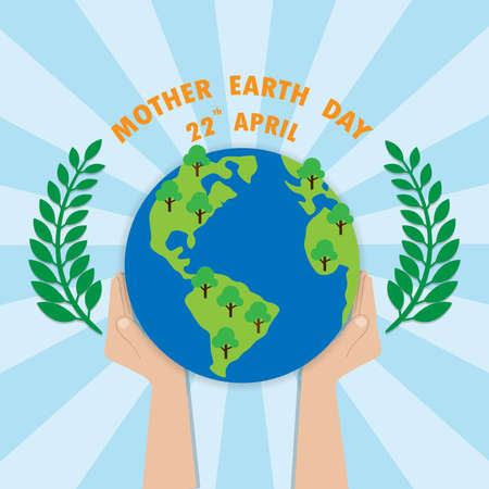 Mother Earth Day concept. Human hands holding floating globe in space. Save our planet. Flat style vector isolated illustration.