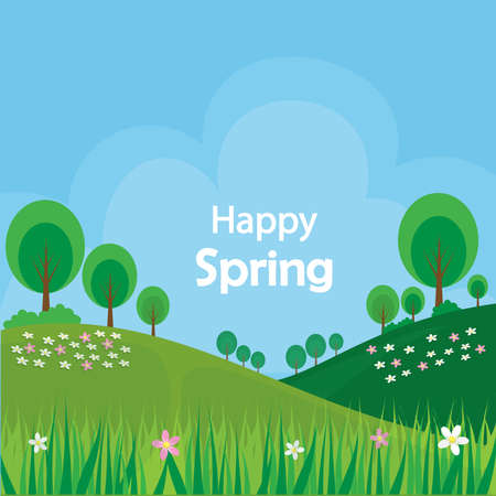 Spring background garden tree and flower with grass. background bright sky clound on spring day. vector.