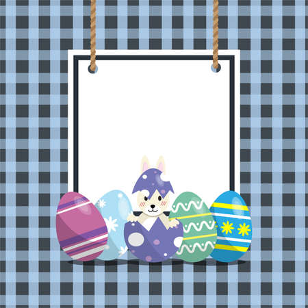 Happy Easter egg. Set  Easter eggs design and have rabbit in broken egg. Happy Easter eggs holiday cards.