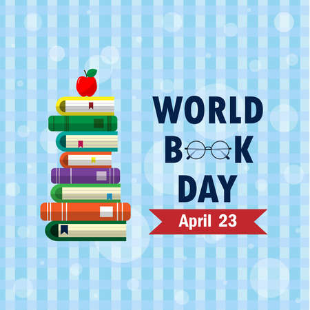 World book day. Stack of colorful books on background. Education vector illustration.