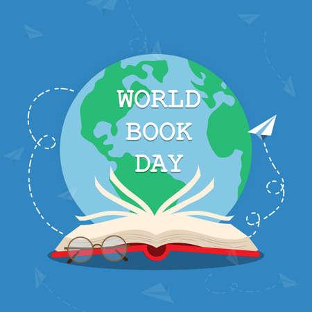 World Book Day concept. Open book logo illustration vector.