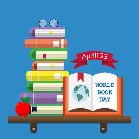 World Book  Day. Stack of books with open book and glasses on white background. Reading vector illustration.