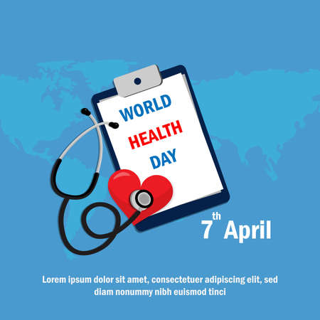 World health day concept on 7 April. Medicine and healthcare poster. Stock Illustratie