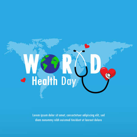 World health day concept text design with doctor stethoscope and heart.Vector Illustration.