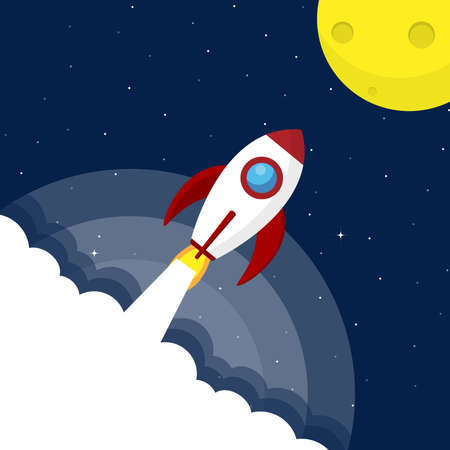 Rocket go to the moon on galaxy background. vector design.