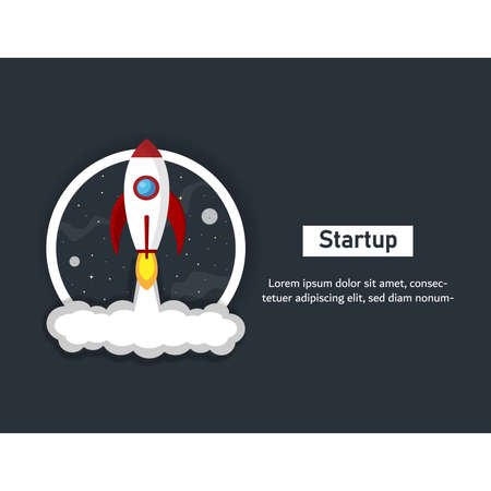 Startup rocket concept. Red rocket flying in the sky. Idea of new ideas. Space rocket launch.Project start up and development process.Innovation product,creative idea and Management. Stock Illustratie