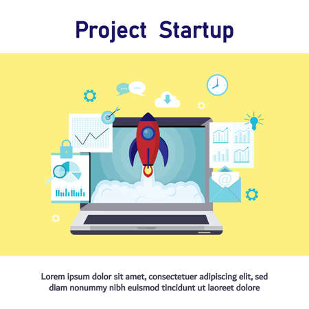 Business project startup process, startup idea launching, project management, plan business, communication business, startup launch flat business vector illustration design.