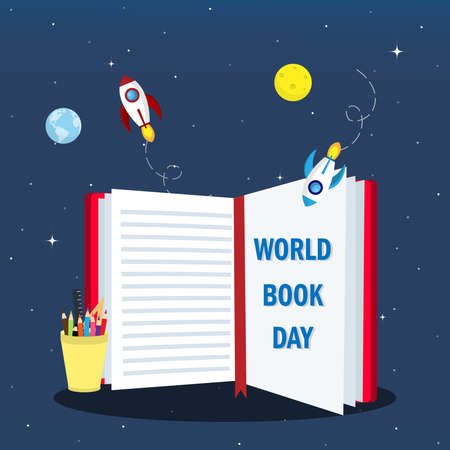 World book day concept. fly with the book ,stationary and rocket with galaxy background. education and creative concept.