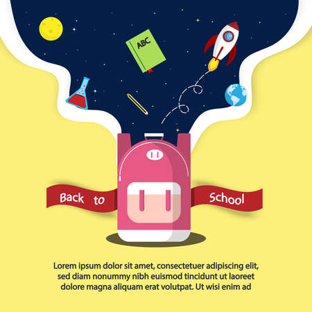 Education concept or Back to school concept.open bag with floating have  rocket,pencil,book,world,moon and test tube on galaxy background.Vector illustration.