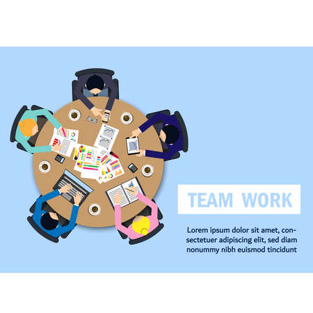 Business meeting, Teamwork,brainstorming in flat style. Office table with team and laptops top view. Round table vector illustration design. vector illustration design.