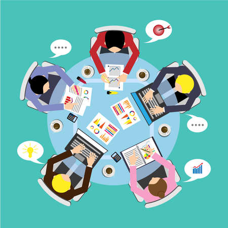 Office table with team and laptops top view. Round table. vector illustration design.