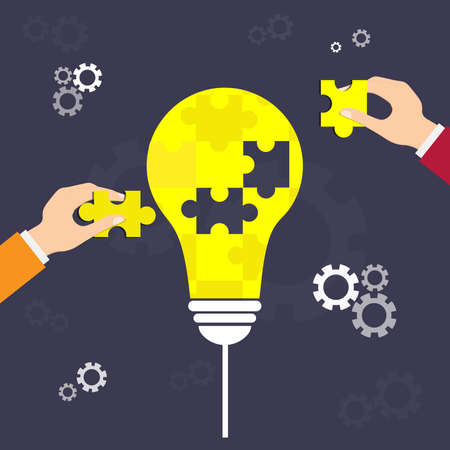 Hands holding Light Bulb Puzzle Pieces. Hand putting the  piece. Idea concept, partnership, success, finance and strategy. vector illustration design. Stock Illustratie