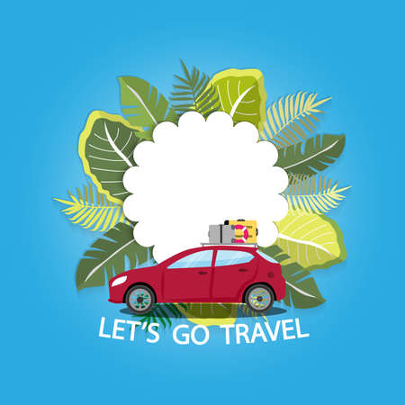 This summer. there are red car and leaf.Vacation on the holidays poster template. Stock Illustratie
