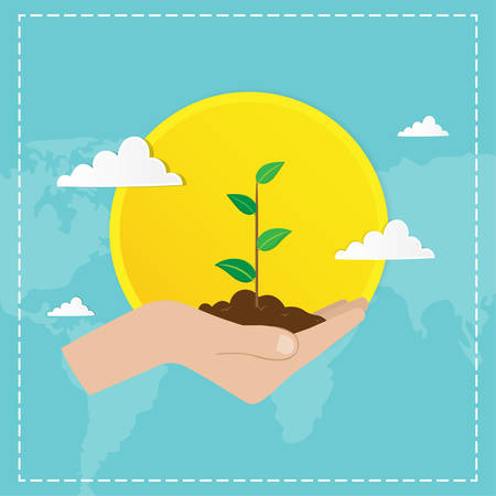 Mother earth day concept. Human hands holding planting seedlings on the shine sun background . Save our planet. Flat style vector isolated illustration.