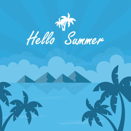 Summer illustration. Vacation on the holidays poster template.  Vector illustration.