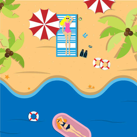 This summer, there are women wearing bikinis, sunbathing on the beach and there is a woman wearing a bikini in the sea. Vacation on the holidays poster template. Stock Illustratie