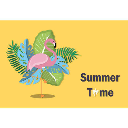 This summer, there are many species of flamingos and hot plants. Vector illustration. Stock Illustratie