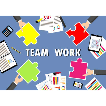 Hands holding puzzle pieces and business, finance, location. Concept of teamwork, partnership, success, finance and strategy. vector illustration design.