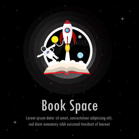 Education concept. Galaxy background with open book space and  rocket, planet, astronaut  floating. Book about inspiration, travel, knowledge. Vector illustration.