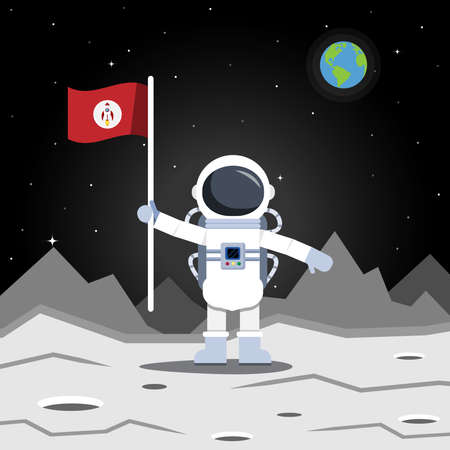 Astronaut stand and hold flag on the moon and far the world..Vector illustration.